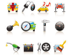 Cartoon cars and peripheral products icons-thumb