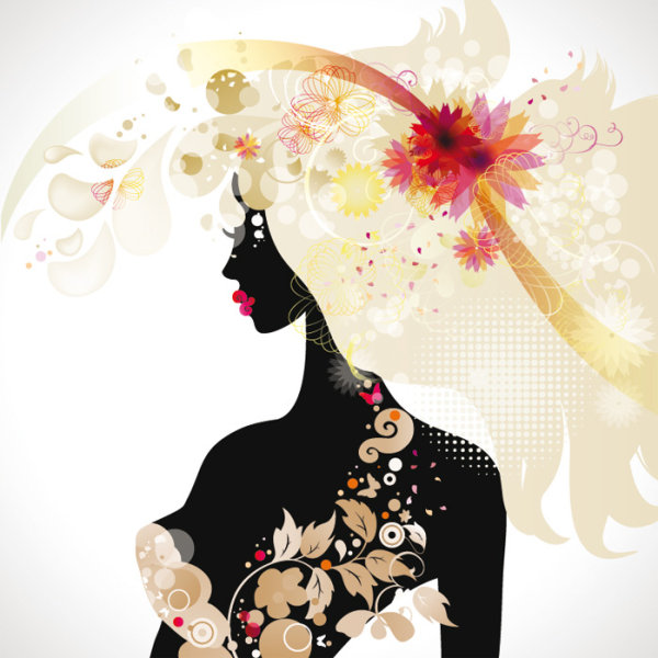 Fashionable beauty silhouette Vector -02