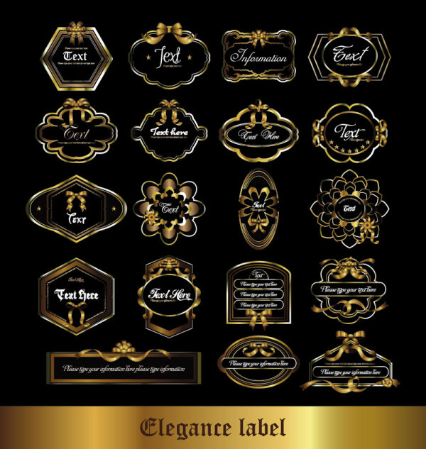 Gorgeous European-style pattern label stickers vector
