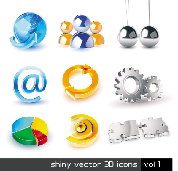 Exquisite three-dimensional icons set vector
