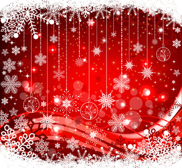 Christmas ball and Snowflake background vector