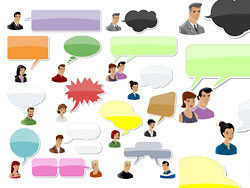 People with speech bubbles and dialog balloons vector-thumb