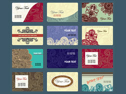Fine pattern business card template vector-thumb