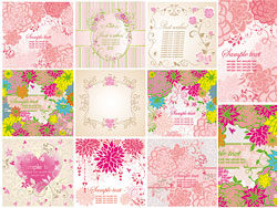 Set of greeting floral cards vector-th