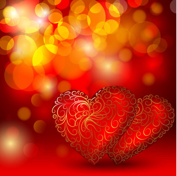 beautiful red heart background vector download free