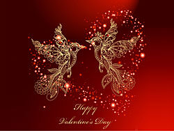 Valentine's Day red background and birds vector-thub