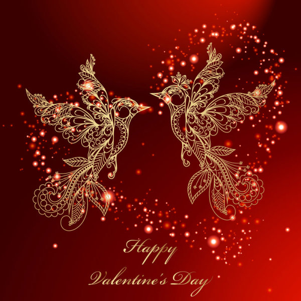 Valentine's day red background and birds vector