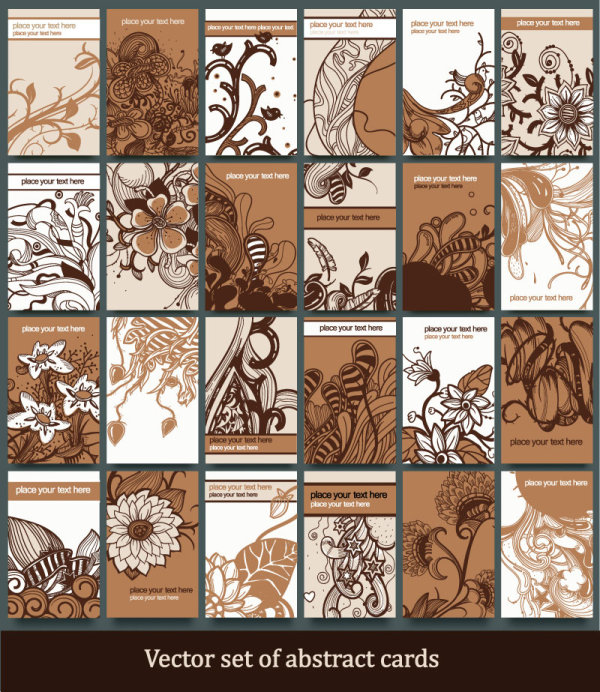 Vector set of abstract cards template