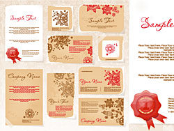 Business cards with flowers vector design