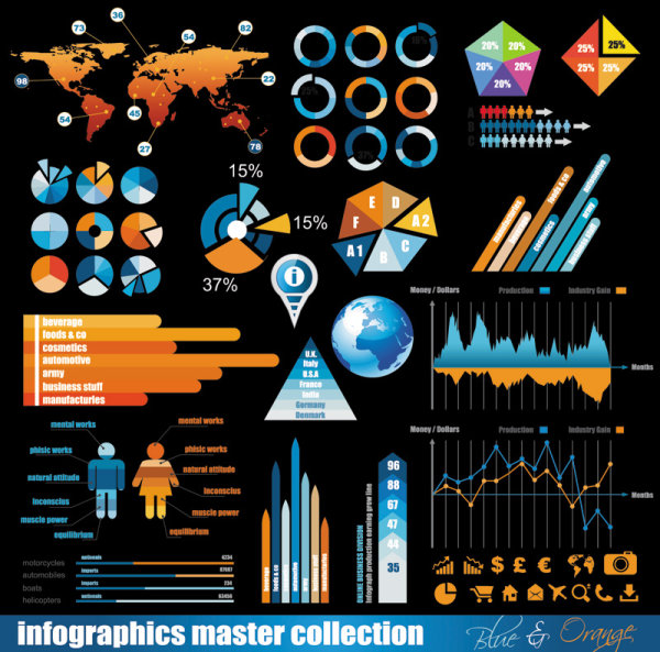 Business data elements vector - 01