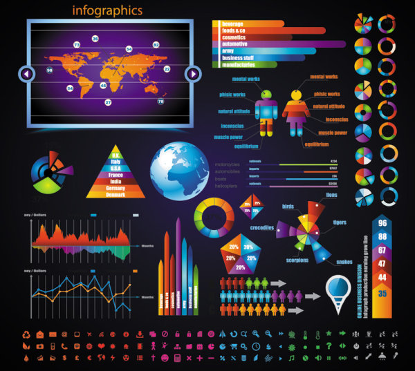 Business data elements vector 03