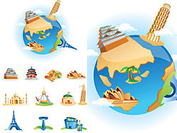 Cartoon landmarks vector design-thumb
