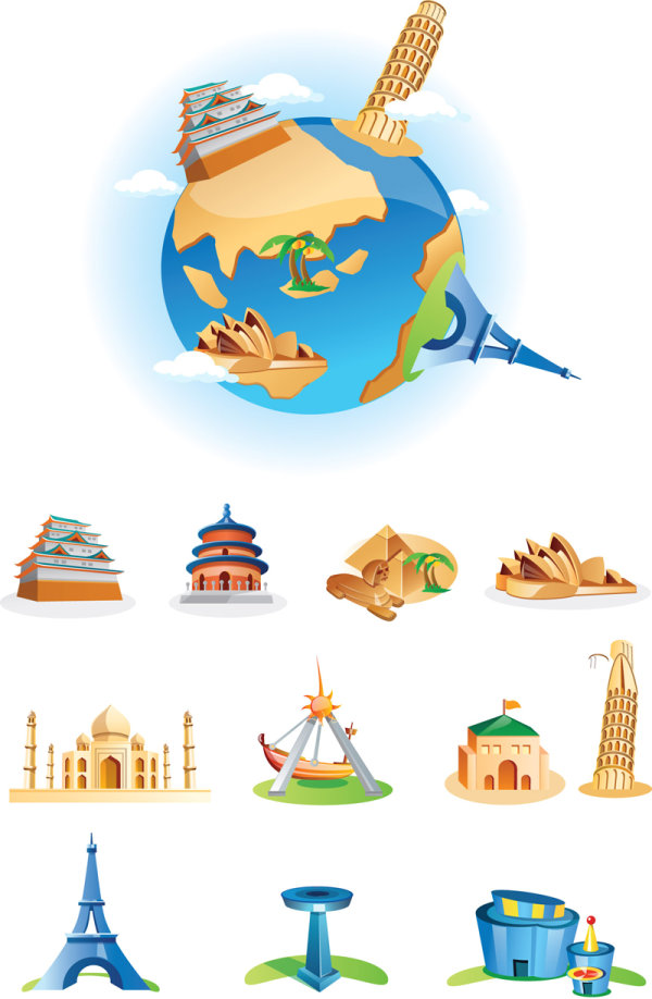 Cartoon landmarks vector design