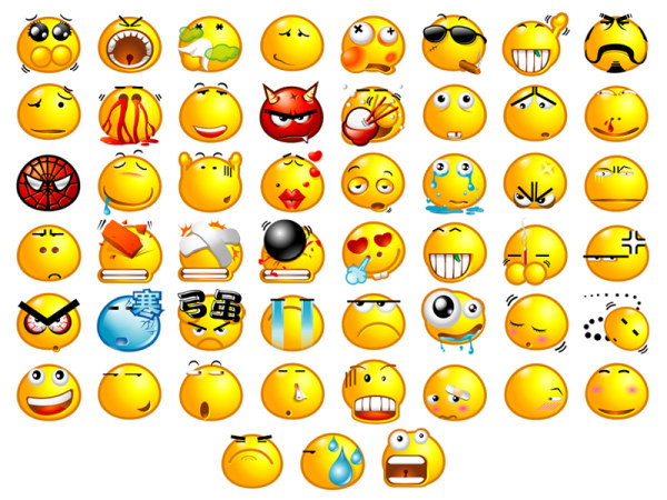 Funny transparent expressions icons