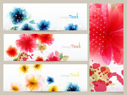 Beautiful flowers banner vector-th