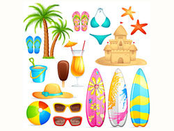 Lovely seaside stickers vector-thu