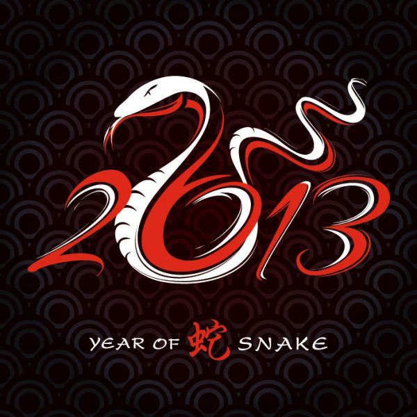 2013 Year of the Snake Design vector -01