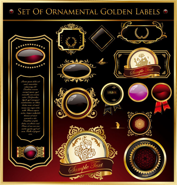 Golden pattern border - Set of Ornamental Golden Label Vector