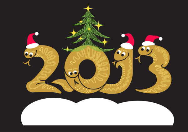 2013 Year of the Snake Christmas cartoon background vector