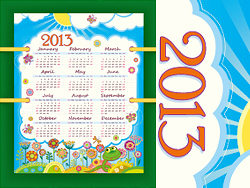 A beautiful calendar 2013 vector design-thu