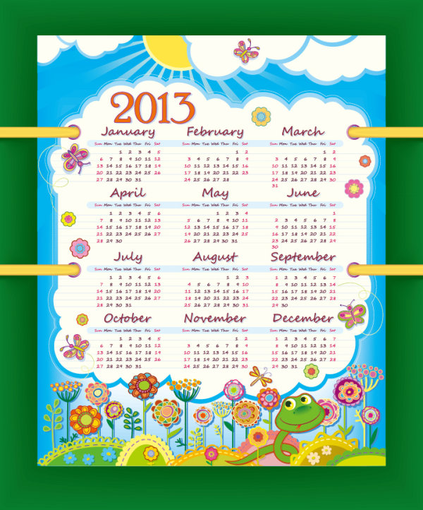 A beautiful calendar 2013 vector design