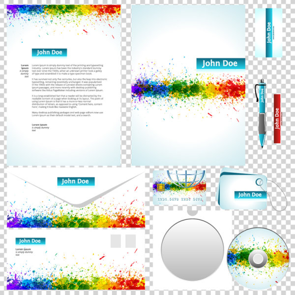 Packaging- Label, CD, envelope, business card, letterheads vector design