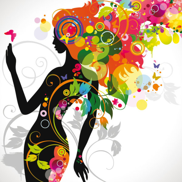 Fashionable beauty silhouette Vector -01