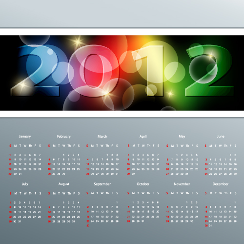 Calendar 2012 template design vector