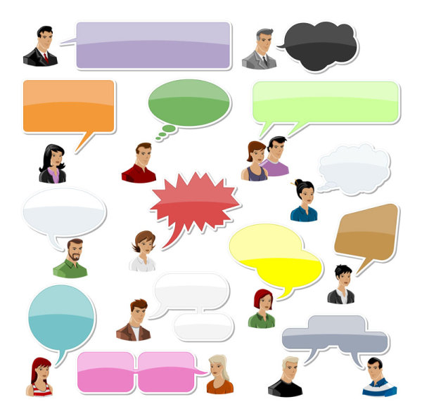 People with speech bubbles and dialog balloons vector