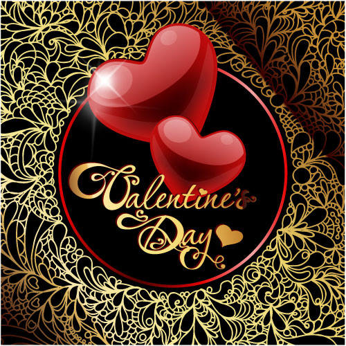 Retro Valentine's Day Greeting Cards Vector-01