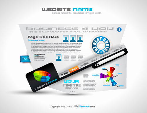 Creative Origami web page template vector