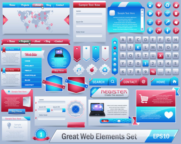 Great website elements set vector design