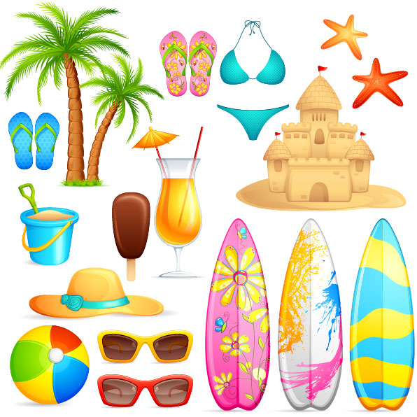 Lovely seaside stickers vector